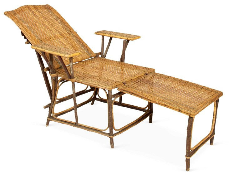 French Folding Wicker Chaise Longue