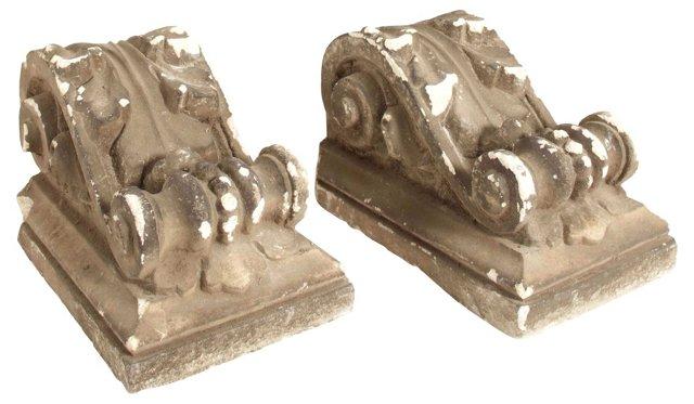 19th-C. Classical Corbels, Pair