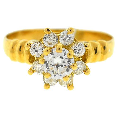 18K Gold & Diamond Flower Ring