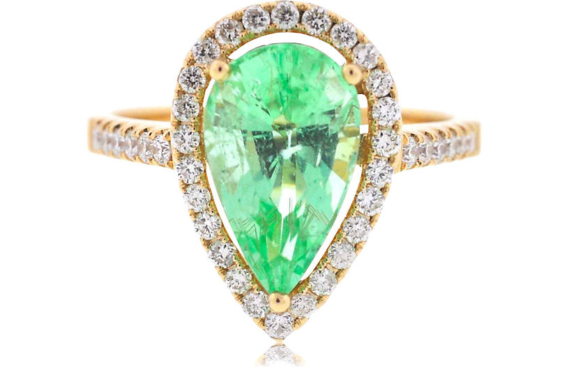 14k Gold Green Quartz Diamonds Ring