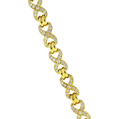 18K Gold X-Link Diamond Bracelet