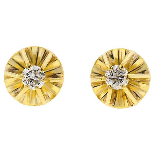 18K Gold & Diamond Stud Earrings