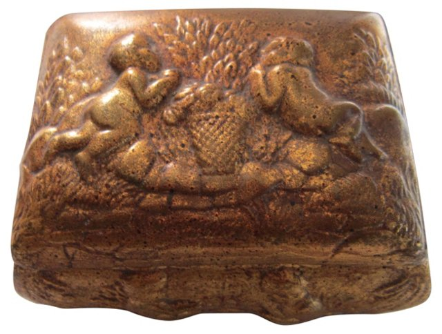 Gold Ceramic Box w/ Cherubs