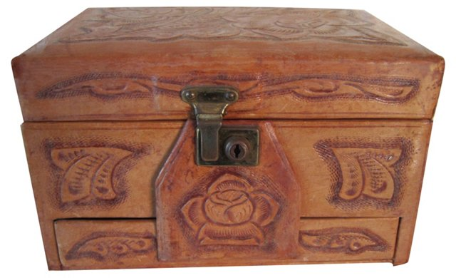 Tooled Leather Jewelry Box