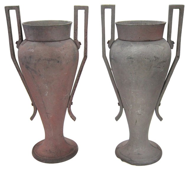 Art Deco Iron Urns, Pair