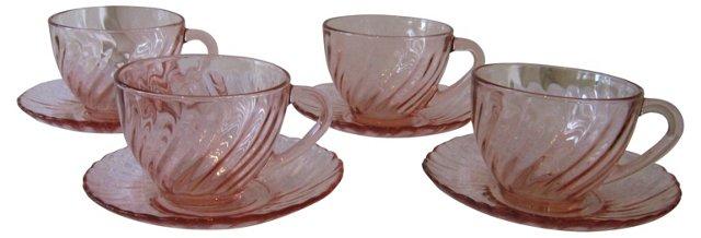 Rosaline Glass Cups & Saucers, S/4