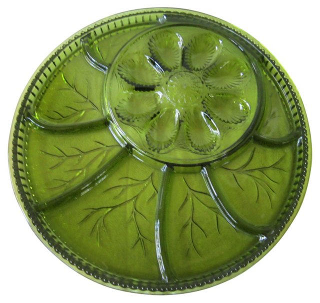 Midcentury Glass Appetizer Tray