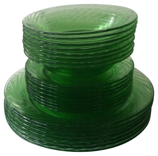 Green Glass Plates & Bowls, 26 Pcs
