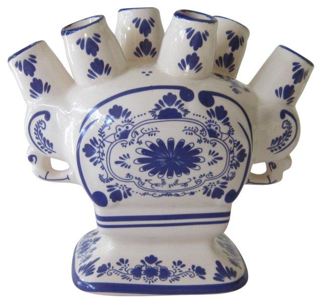 Blue & White Stem Vase