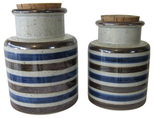 Striped Crock Canisters, Pair