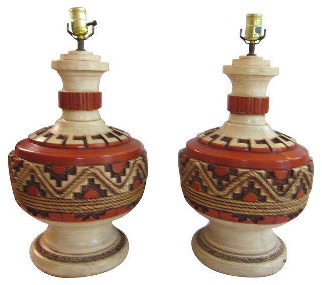 Southwestern Pottery Lamps, Pair
