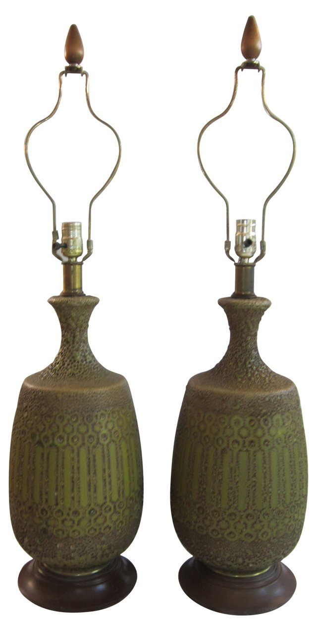 Green Lava-Glazed Lamps, Pair