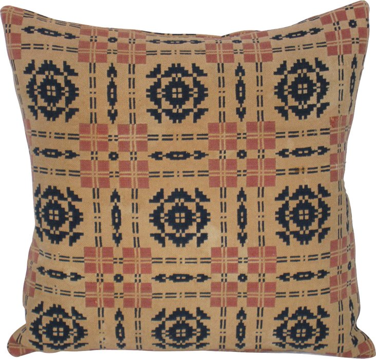 19th-C. American Coverlet Pillow