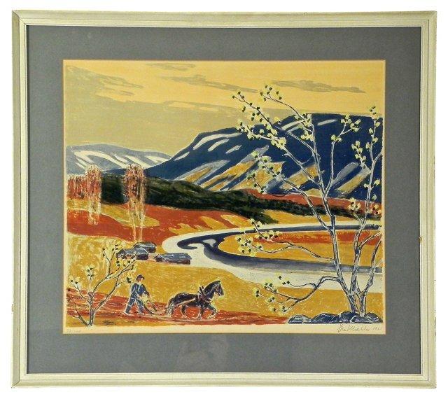 Landscape w/ Ploughman in Field