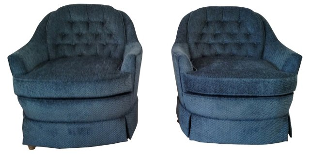 Blue Swivel Chairs, Pair