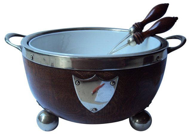 English Oak Fruit Bowl w/ 2 Servers