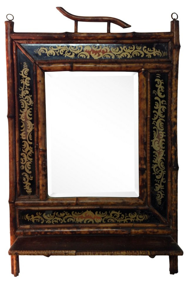 English Bamboo Mirror w/ Shelf