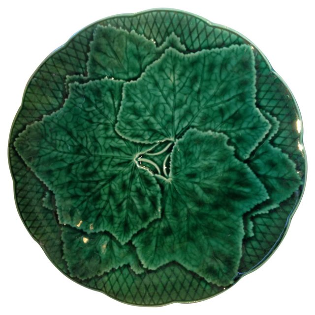 French Majolica Green   Leaf Plate