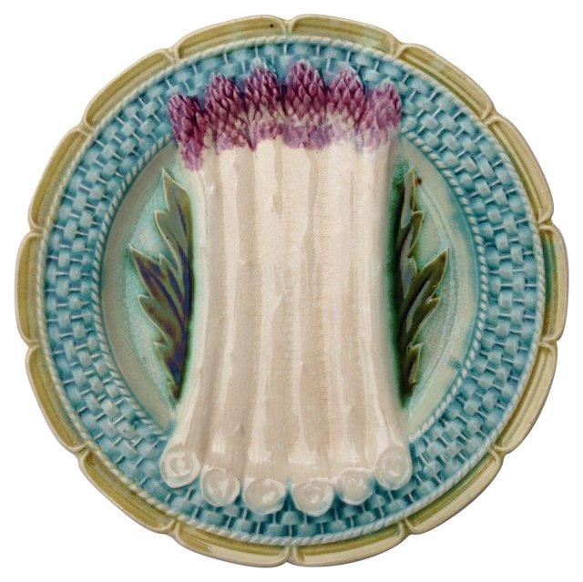 Majolica French Asparagus Plate