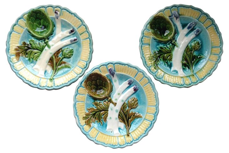 French     Majolica Plates, S/3