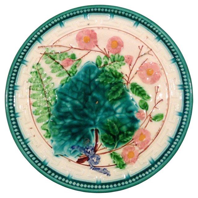 English Majolica Grape Leaf Plate