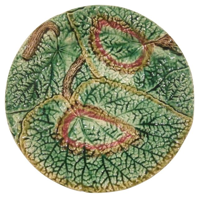 English Begonia Leaf Majolica Plate