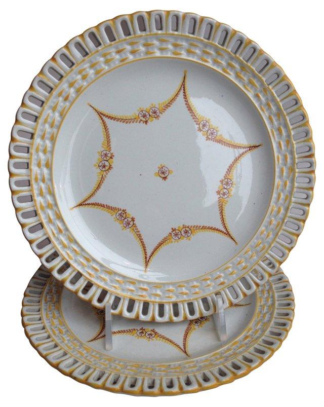 French Creamware Plates, Pair