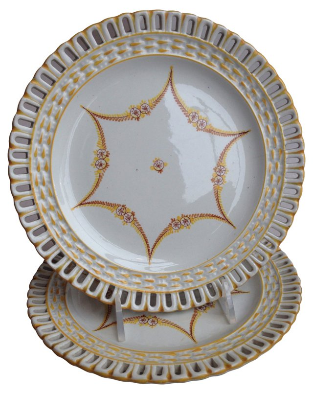 French Painted Creamware Plates, Pair