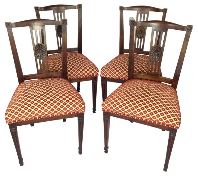 English  Carved Dining Chairs, S/4