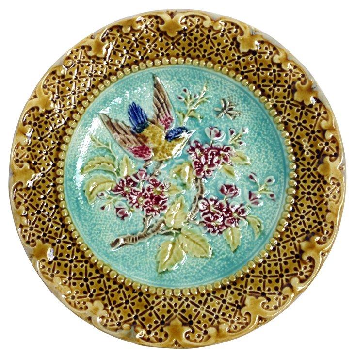 French Majolica Bird     Plate