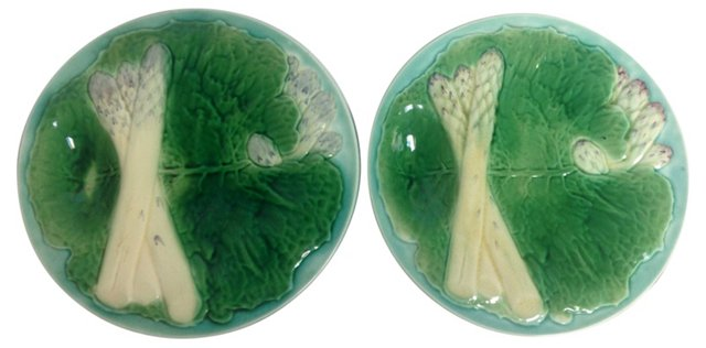 Majolica French Asparagus Plates, Pair