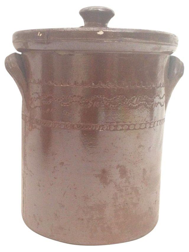 English Salt-Glazed Pot w/ Lid