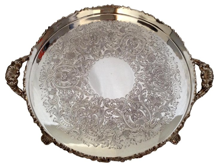 English Silver on Copper Footed Tray