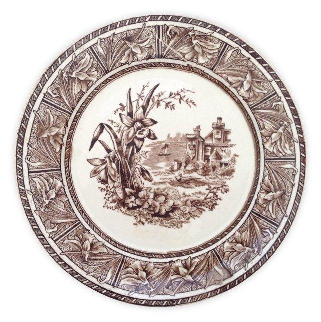 English Brown  Transferware Plate