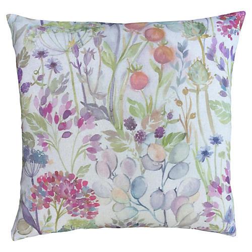 Scottish Linen Floral Print Down Pillow