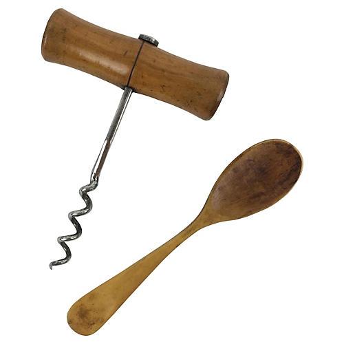 English Wood Corkscrew & Spoon