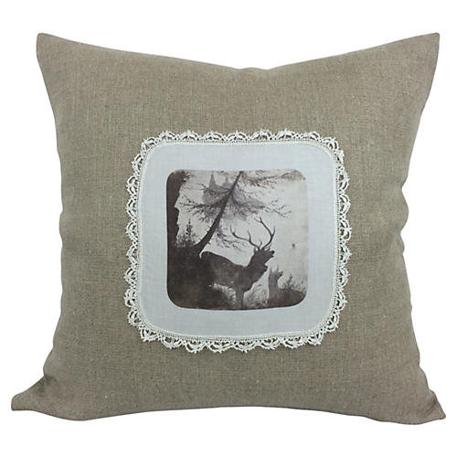 English Antique Cotton/Linen Pillow