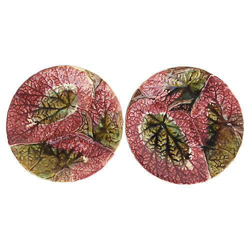 Majolica English Begonia Plates, Pair