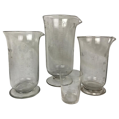 English Engraved Beakers, S/4