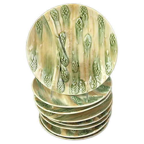 French Majolica Asparagus Plates, S/8