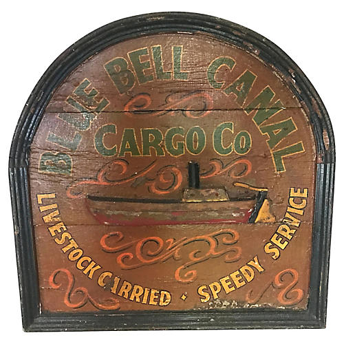 English Hand-Painted Advertising Sign