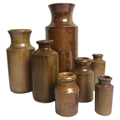 English Stoneware Ink Pots, S/7