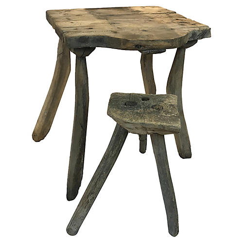 French Rustic Child's Desk and Stool