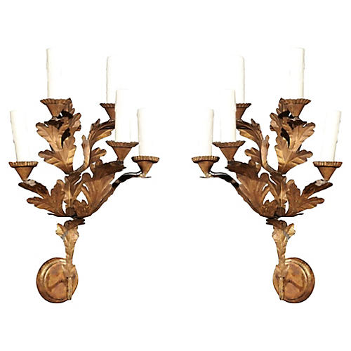 18th-c. Italian Gilt Sconces, Pair