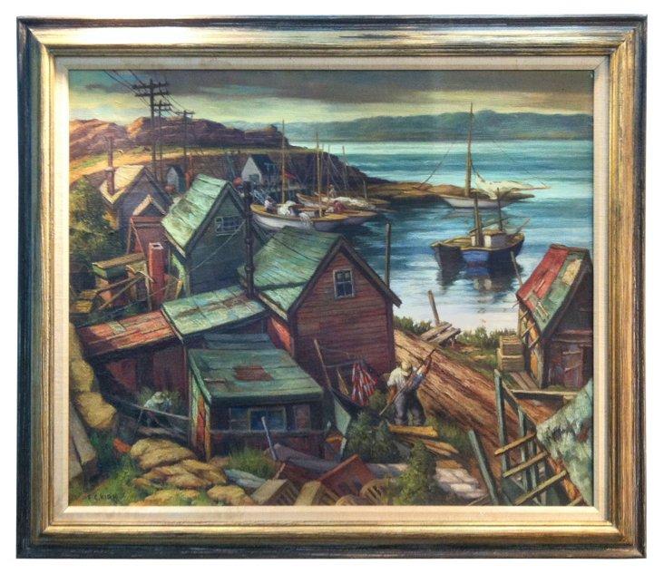Harbor Scene by Frank C. Kirk