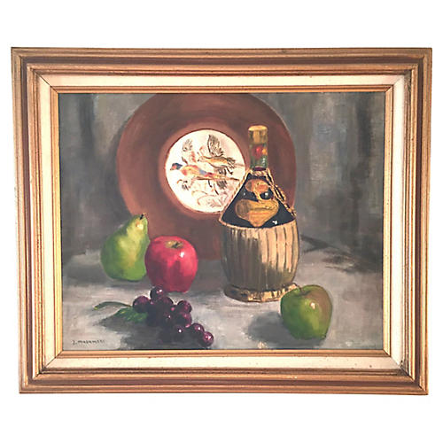 Bottle of Chianti and Fruit