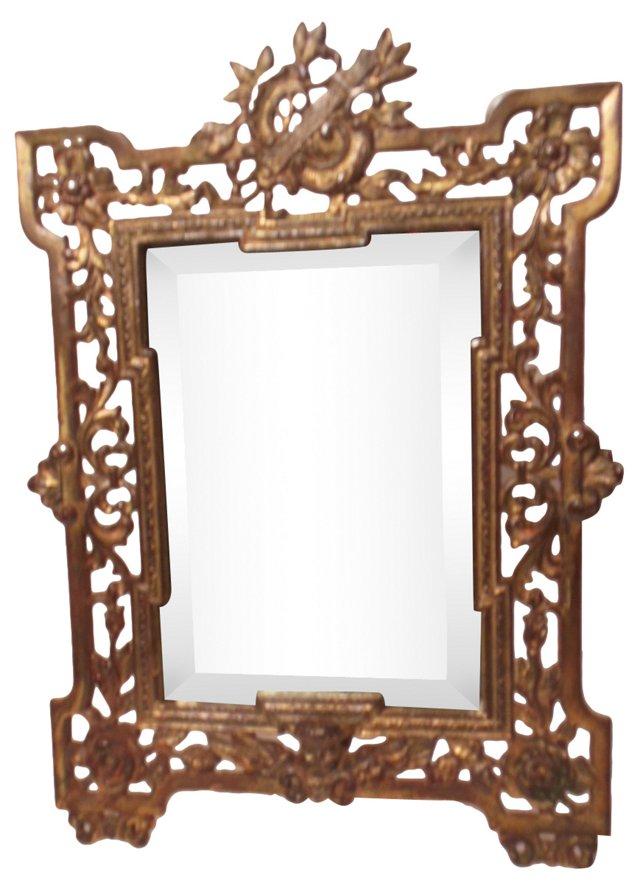 Antique Vanity Brass Beveled Mirror