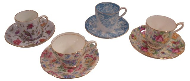 English Demitasse Cups & Saucers, S/4