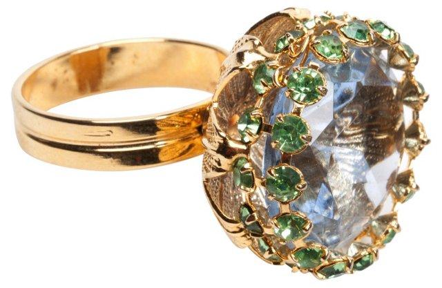 Blue Glass & Peridot Ring