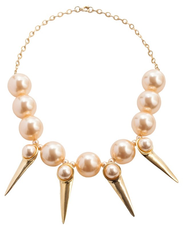 Faux-Pearl Pink Spike Necklace